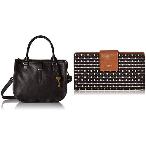Fossil Women's Ryder Leather Satchel Handbag, Black with womens Tab Clutch, Black Stripe, 6.75 L x 0.75 W 3.5 H US