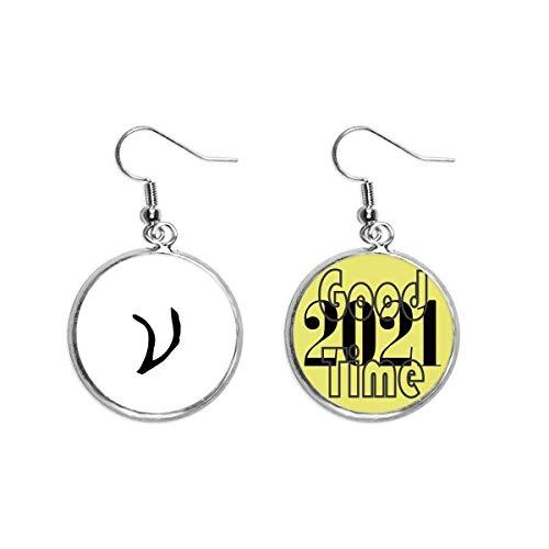 Pendientes de la silueta del alfabeto griego Nu negro pendientes pendientes pendientes de la oreja joyería 2021 buena suerte