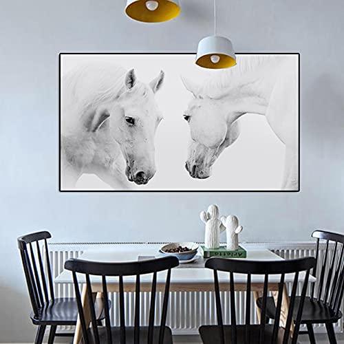 Carteles e impresiones de animales pintura en lienzo dos caballos blancos corriendo con imágenes de pared para sala de estar Cuadros decoración del hogar 50x100 CM (sin marco)