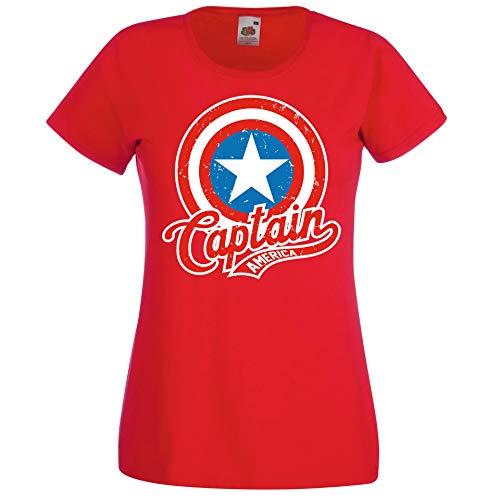 Donna T-Shirt Maglietta Motivo America Captain - Rosso XXL
