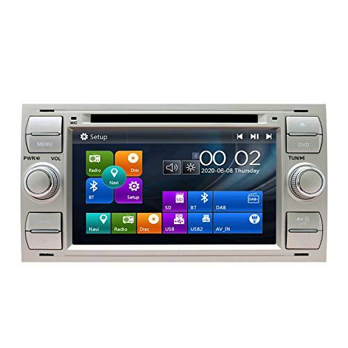 Autoradio Stereo Adatto per Ford Mondeo Focus Fusion Transit Fiesta Galaxy Navigatore GPS da 7 pollici Doppio Din Supporto per unità principale USB SD FM AM RDS Video Bluetooth SWC Lettore CD DVD (Bl
