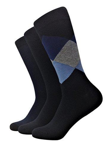 Marc Anthony - Men's Premium Dress Socks, 3 Pairs (Blue Argyle) Shoe Size 7-12
