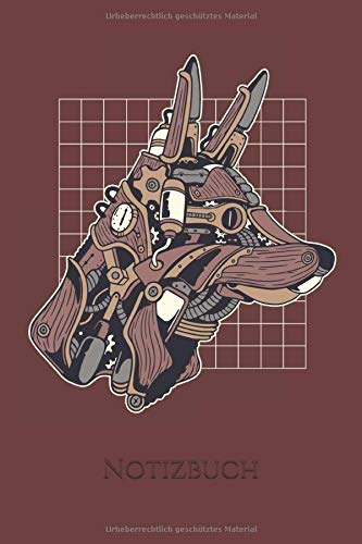 Notizbuch: Steampunk Hund Notizbuch 6x9 Zoll DIN A5   120 Seiten Punktraster   Gothic Notizheft   Tagebuch   Bullet Journal   Skizzenbuch