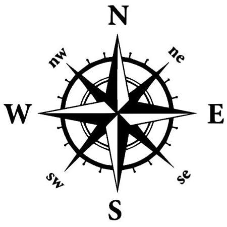 Generic Kompass Aufkleber In Verschiedenen Größen Windrose Aufkleber Für Caravan Wohnmobil Wohnwagen Auto Oder Als Wand Tattoo 35 3 30x30cm Schwarz Glanz Garten