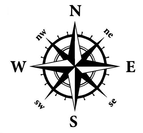 Generic Kompass Aufkleber in verschiedenen Größen Windrose Aufkleber für Caravan Wohnmobil Wohnwagen Auto oder als Wand Tattoo (35/3) (20x20cm, dunkelgrau matt)