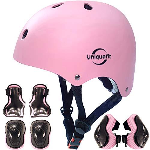 casco regolabile per bambini e set di protezioni ginocchiere gomitiere polsiere (pink, M(8-13 Years Old))