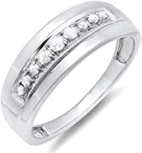Dazzlingrock Collection 0.23 Carat (ctw) Sterling Silver Round Real Diamond Men's Wedding Anniversary Band Ring 1/4 CT, Size 11