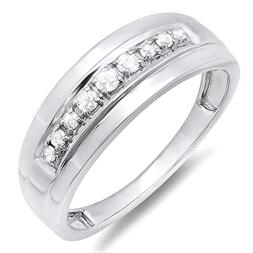 Dazzlingrock Collection 0.23 Carat (ctw) Sterling Silver Round Real Diamond Men's Wedding Anniversary Band Ring 1/4 CT, Size 10