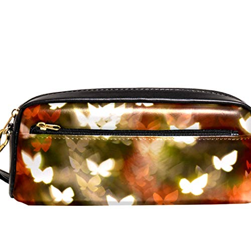 AITAI PU Leather Pencil Case Colorful Abstract Butterflies Shape Zipper Pen Pouch for School, Work & Office