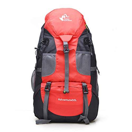 SHRAY 36-55L Outdoor Sports Bag Mountaineering Bag Hiking Backpack Men and Women Casual Backpack Rock Climbing Camping High Capacity Multifunction with Rain Cover Backpack Red