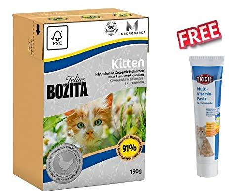 Bozita Katzenfutter-Set Tetra Pak 16 x 190 g Nassfutter für Katzen liefert optimale Energie mit frischem schwedischem Huhn, FREETrixie Vitamin Paste für Kätzchen
