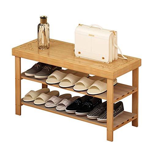 El almacenamiento en zapatero es simple y práctico Zapato estante entrante zapato zapato almacenamiento bambú rack zapato cambio taburete hogar ahorro de zapatos zapato dormitorio sala de estar piso s