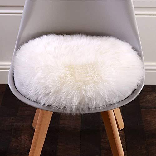 KAIHONG Spitzenqualität Lammfellimitat Teppich, 30 x 30 cm Lammfellimitat Teppich Longhair Fell Optik Nachahmung Wolle Bettvorleger Sofa Matte (Rundes Weiß)