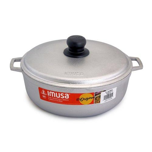 IMUSA USA Traditional Aluminum Colombian Natural Caldero Cookware, 3.7 Quart, Silver
