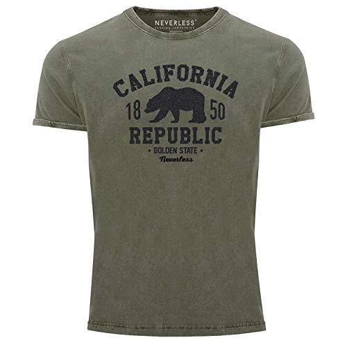 Neverless® Herren T-Shirt Vintage Shirt Printshirt California Republic Kalifornien Golden State Grizzly Bär Bear Logo Used Look Slim Fit grün-schwarz M