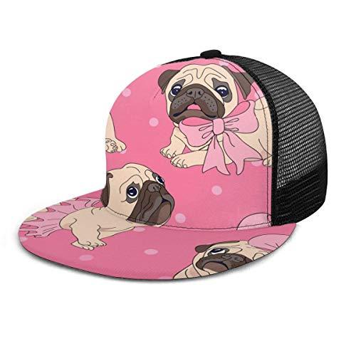 NA Gorra de béisbol Cute Pug Dog con lazo rosa Unisex Flat Brim Hat Gorras de béisbol