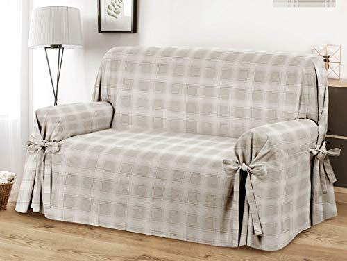 HomeLife – Cubre sofá de 3 plazas – Elegante Protector de sofás a Cuadros – Funda de sofá de algodón para Proteger del Polvo, Las Manchas y el Desgaste, Fabricado en Italia – Beige