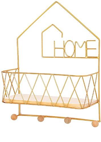 HJW Praktische opbergrek Entryway Plank met Haken Drijvende Plank Home Decor Gouden Muurbevestiging Opbergrek voor Fotolijst Boek Plant Pot Key 1Huiyang-01020,4 Haken
