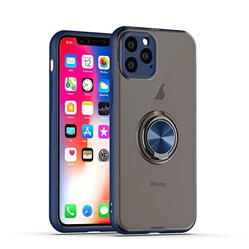 GOBY Coque iPhone 11 Pro, Slim Fit TPU avec Support de BagueSilicone Gel Anti Mince Placage Bumper Housse Lustre Métal 360° Bague Support Téléphone Voiture Etui (BLEU)