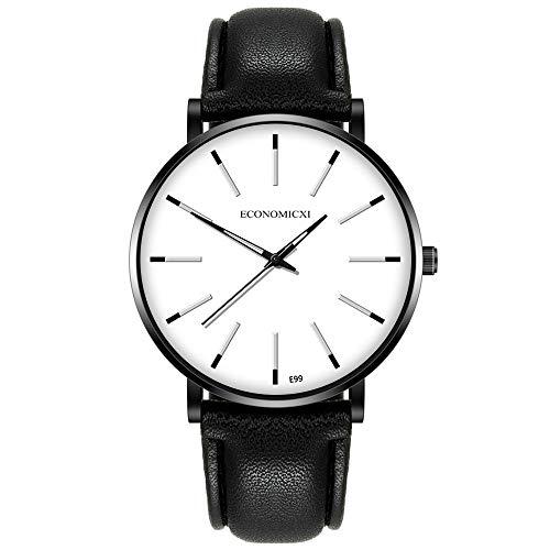 Bokeley Mens Watches Waterproof Leather Strap Slim Quartz Casual Business Mens Wrist Watch Clock (White)