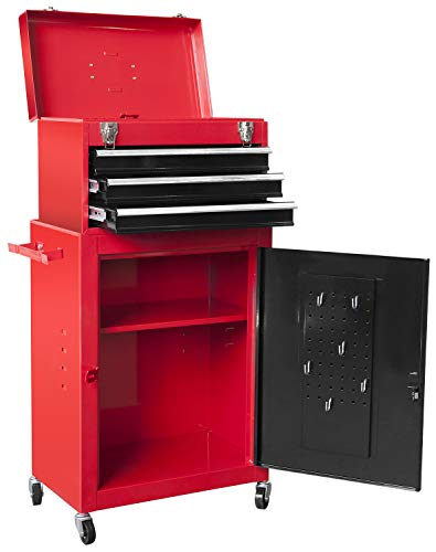 BIG RED ATBD134R-RB Torin Rolling Garage Workshop Tool Organizer: Detachable 3 Drawer Tool Chest with Large Storage Cabinet and Adjustable Shelf, Red/Black