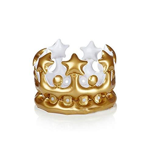 BIYI Per bambini Oro Pvc Gonfiabile Corona Festa Corona Festa di compleanno Cappello Baby Shower Giocattolo Fotografia Puntelli (oro)