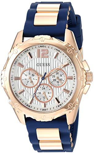 GUESS Comfortable Rose Gold-Tone + Iconic Blue Stain Resistant Silicone Strap with Day, Date + 24 Hour Military/Int'l Time. Color: Blue (Model: U0325L8)