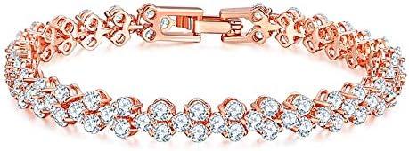 ブレスレットレディースファッションローズゴールド仕上げ925スターリングシルバーゴージャスでエレガントなダイヤモンドブレスレット