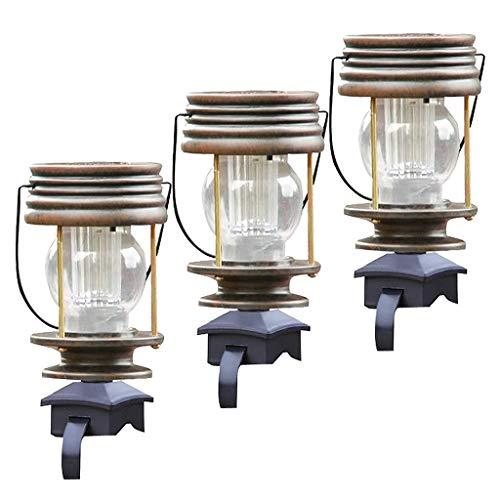 PETSOLA 3 Stücke Vintage Solarleuchte Außenlampe Balkonleuchte, Geländer Befestigung für Balkongeländer Geländer Zaun, Tag/Nachtsensor