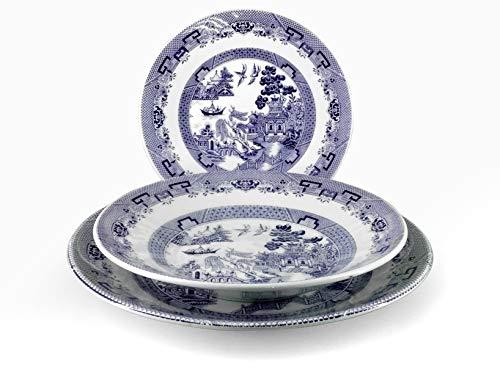 H&H 825231 English Chintz-Vajilla de 18 Piezas, de cerámica, decoración Azul, Piedra