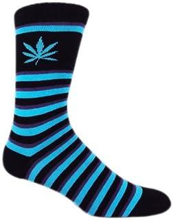 MOXY Socks Premium Purple Haze Skater Crew Socks, Black/Purple/Blue