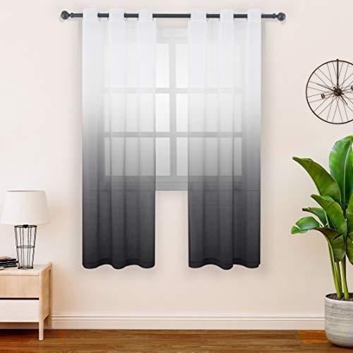FLOWEROOM Tenda a pannello in voile sfumato per camera da letto//soggiorno con filtro della luce e protezione della privacy con occhielli in velo//voile in velo 107 x 145 cm