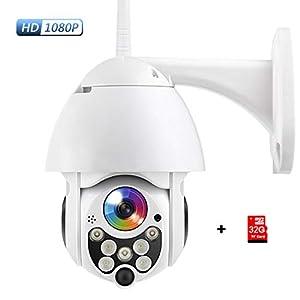 PTZ Camara Vigilancia, Camara WiFi Exterior Impermeable IP66 con Audio de Dos Vías, Visión Nocturna en Color, Detección de Movimiento, Notificación de Alarma (Tarjeta SD Incluida)