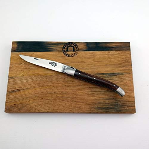 Coffret cadeau Forge de Laguiole - Couteau de poche lame 11 cm (mat) - Manche Thuja+ planche à biscuits en bois de tonneau (chêne) 25x15