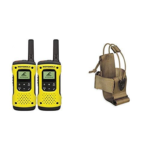 Motorola TLKR T92 H2O PMR Funkgerät (IP67, Reichweite bis zu 10 km), 2 Stück & Tasmanian Tiger TT Tac Pouch 2 Radio Funkgerätetasche MOLLE-kompatibel, größenverstellbar, 15 x 7 x 7 cm, Khaki