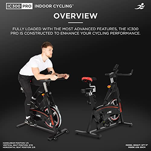 JLL IC300 PRO Indoor Cycling Exercise Bike, Direct Belt Driven 20kg Flywheel, Magnetic Resistance, 3-Piece Crank, 7-Function Monitor, Heart Rate Sensors, Adjustable Seat, 12 Months Home Warranty