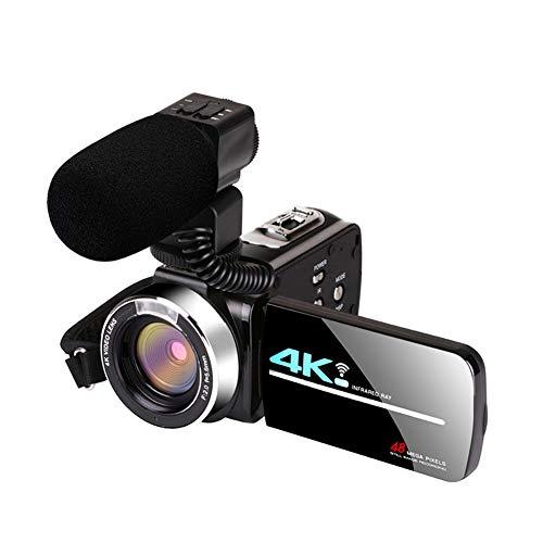 POHOVE Cámara de vídeo videocámara WiFi, zoom digital 16X, videocámara 4K de alta definición, Facebook streaming en vivo, grabadora digital de YouTube, grabadora de vídeo, color negro (tipos:3)