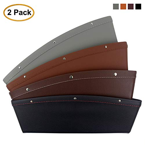 AK KYC 2 Pack Car Gap Filler Car Pocket Organizer Seat Console Seat Side Drop Caddy Catcher Premium PU Full Leather Interior Accessories - Gray Color