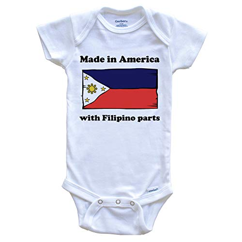 Made in America with Filipino Parts Funny Philippines Flag Baby Onesie, 6-9 Months White