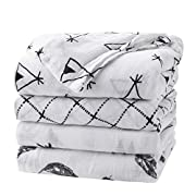 upsimples Baby Swaddle Blanket Unisex Swaddle Wrap Soft Silky Bamboo Muslin Swaddle Blankets Neutral Receiving Blanket for Boys and Girls, Large 47 x 47 inches, Set of 4-Arrow/Feather/Tent/Crisscross