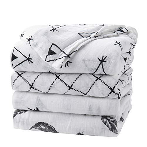 upsimples Baby Swaddle Blanket Unisex Swaddle Wrap Soft Silky Bamboo Muslin Swaddle Blankets Neutral Receiving Blanket for Boys and Girls Large 47 x 47 inches Set of 4Arrow/Feather/Tent/Crisscross
