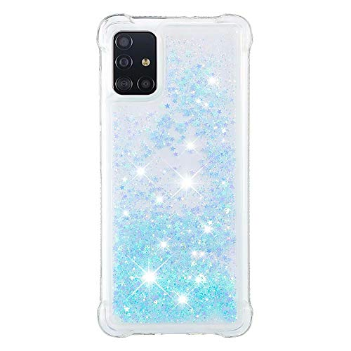 Lvnarery iPhone 11 Pro Case,Clear Liquid Glitter Case Air-Cushion Drop Resistant Bling Shiny Sparkle Flowing Shockproof Soft TPU Bumper Shell Slim Cover for iPhone 11 Pro,Silver Blue Star