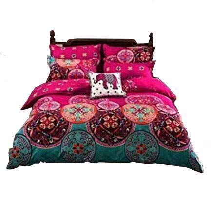 Sandyshow Microfiber Duvet Cover Set, Bohemia bedding, Reversible Color Design, Full/Queen Size