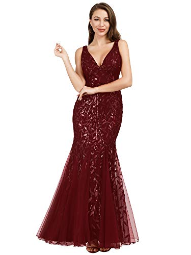 Women's Lace Embroidered Bodycon Wedding Party Maxi Dress Burgundy US12