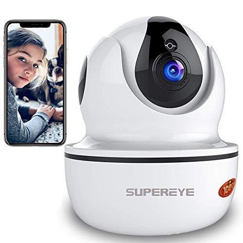 Camara Vigilancia SUPEREYE 1080P Cámara IP, Cámaras de Vigilancia WiFi Interior FHD con Visión Nocturna, Detección de Movimiento, Audio de 2 Vías