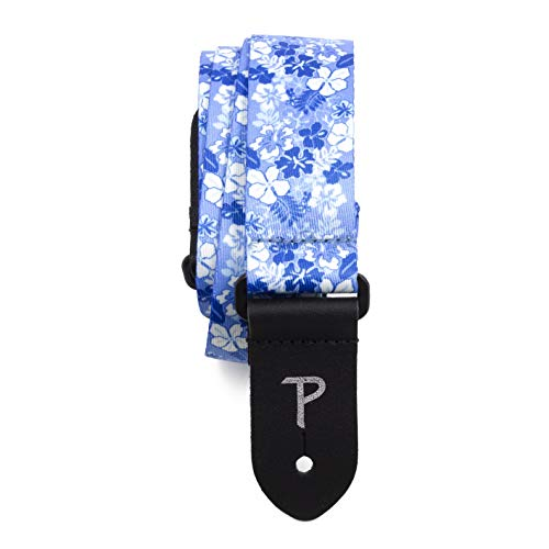 """Perri's Leathers UKLPCP-6667 Polyester Ukulele Straps - 1.5"""", Blue Floral"""