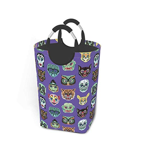 XCNGG Laundry Hamper Storage Bin Halloween Masquerade Purple Large Collapsible Storage Basket for Dirty Clothes Toys Books