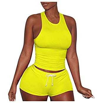 VEKDONE Women Shorts Set 2 Piece Outfits - Sexy Bodycon Tank Crop Top Shorts Sets Clubwear Sports Tracksuits Yellow,X-Large