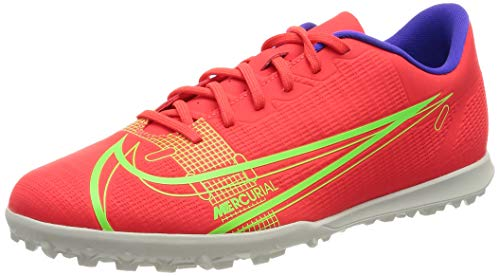 Nike Vapor 14 Club TF, Football Shoe Hombre, Bright Crimson/Metallic Silver-Indigo Burst-White-Rage Green, 40.5 EU