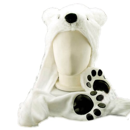 Costume Polar Bear Plush Hat with Mittens Paw Prints by HatButik